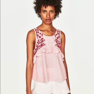 ZARA Pink Stripe Embroidered Top Small